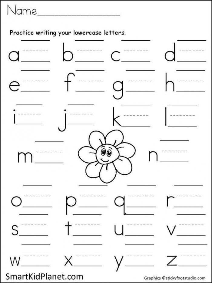 Letter Practice Worksheet Print Lowercase Letters Spring Flower