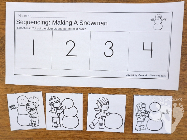 Making A Snowman Winter Sequencing Cards Sets