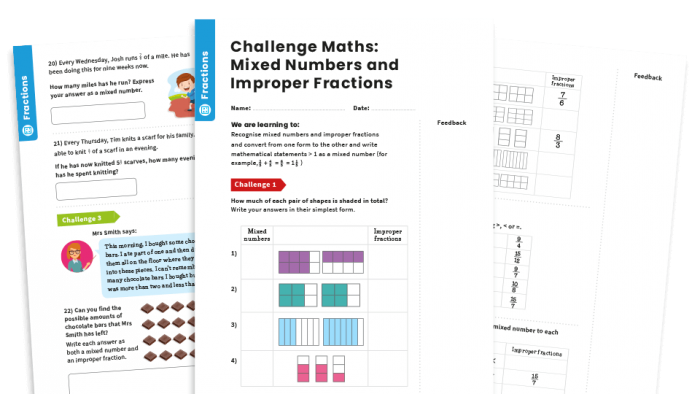 Mixed Numbers And Improper Fractions Y Fractions Maths