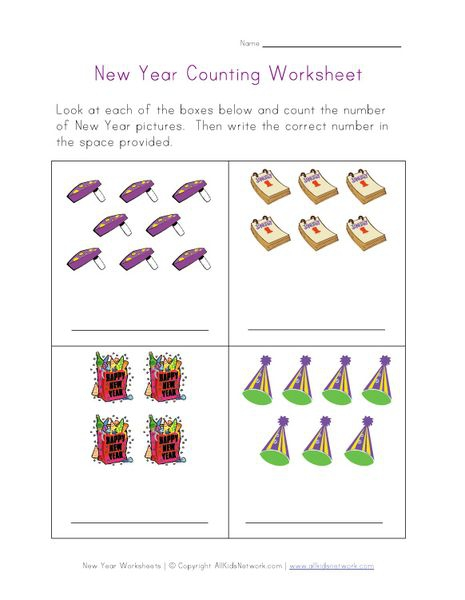 New Year Counting Practice Worksheet Wwwallkidsnetworkcom
