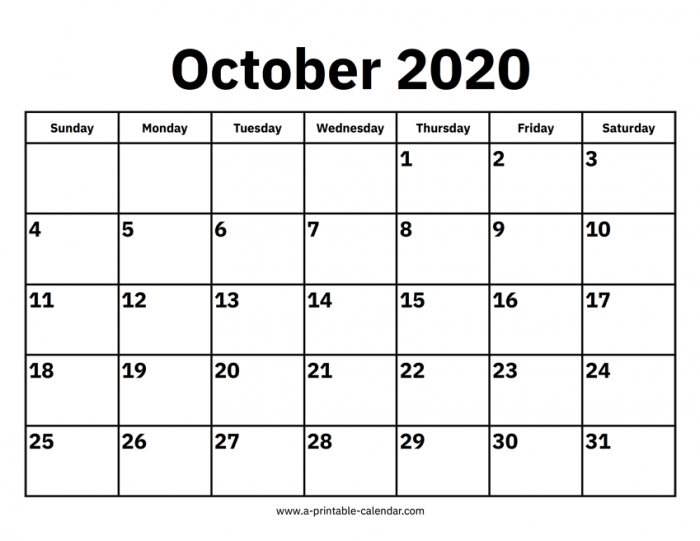 October Calendars Printable Calendar