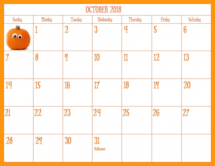October Halloween Theme Printable Calendars