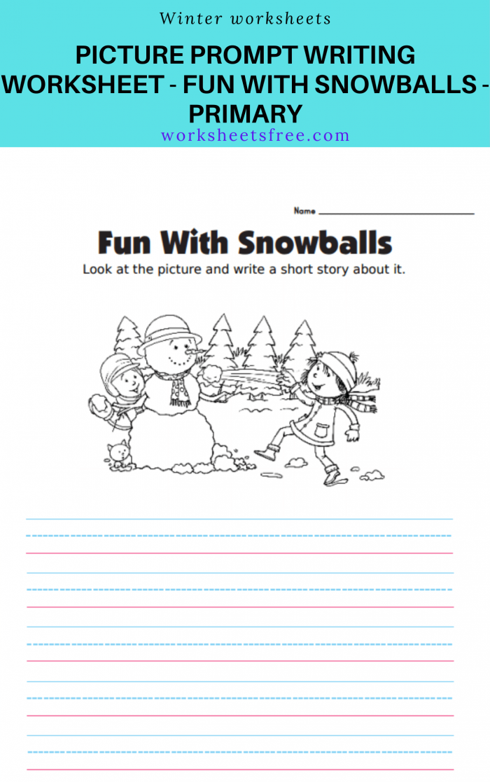 Picture Prompt Writing Worksheet Fun With Snowballs Primary