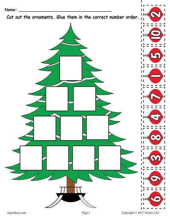 Printable Christmas Tree Ordering Numbers Worksheet Numbers