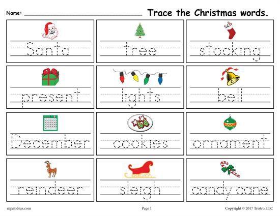 Printable Christmas Words Handwriting Tracing Worksheet