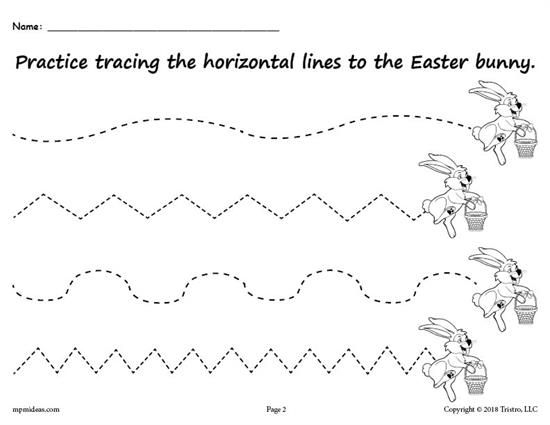 Printable Easter Bunny Line Tracing Worksheets
