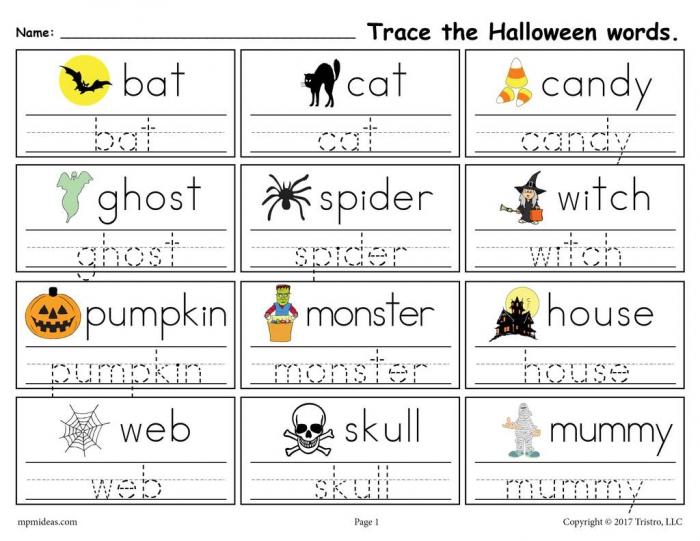 Printable Halloween Words Handwriting Tracing Worksheet Supplyme