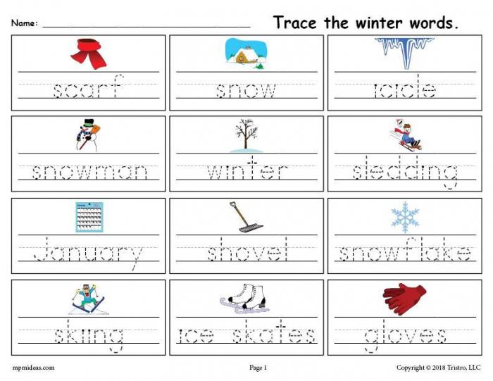 Printable Winter Words Handwriting Tracing Worksheet Supplyme