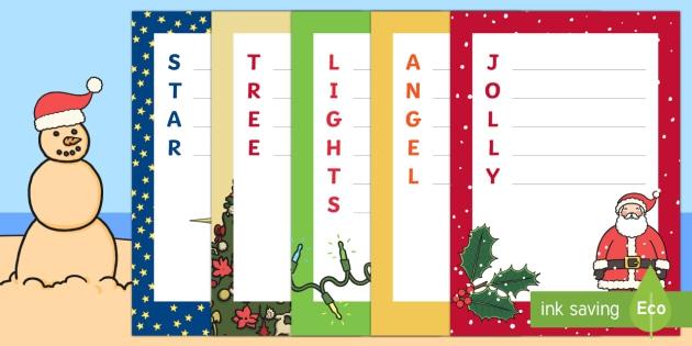 Sa Christmas Acrostic Poems Writing Template Teacher Made