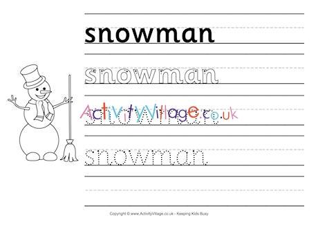 Snowman Handwriting Worksheet