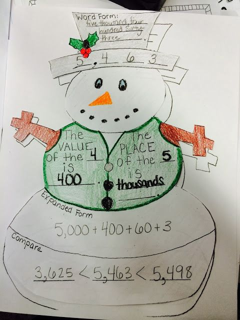 Snowman Place Value Activity Adapted For Nd Grade