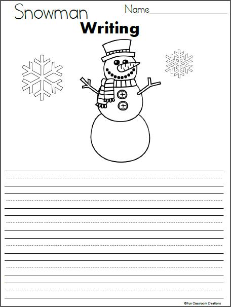 Snowman Writing Template