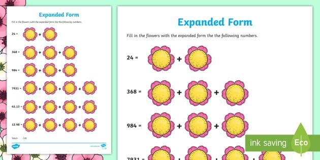 Spring Expanded Form Math Worksheet Worksheet