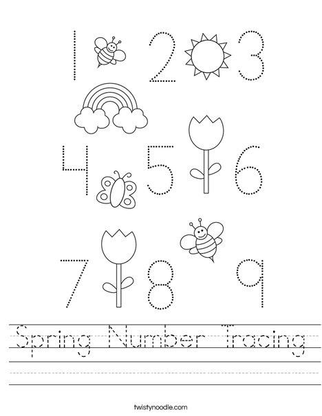 Spring Number Tracing Worksheet