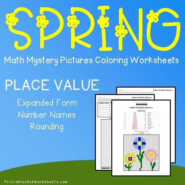 Spring Place Value Mystery Pictures Coloring Worksheets