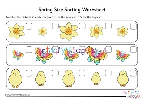 Spring Size Sorting Worksheet