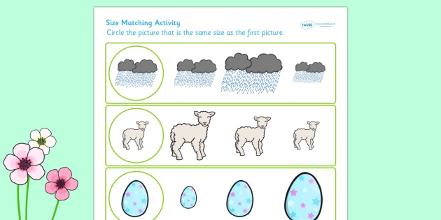 Spring Themed Size Matching Worksheet Teacher Made