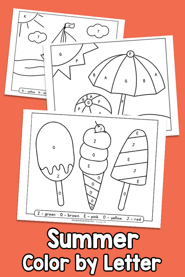 Summer Color By Letter Color By Code Worksheets Easy Peasy And