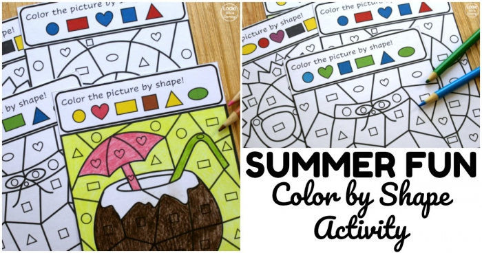 Summer Color By Shape Activity For Kids