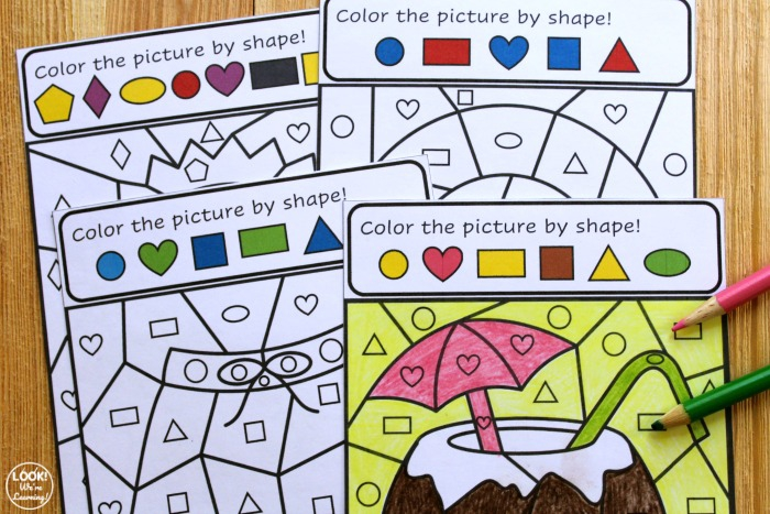 Summer Color By Shape Art Activity For Kids