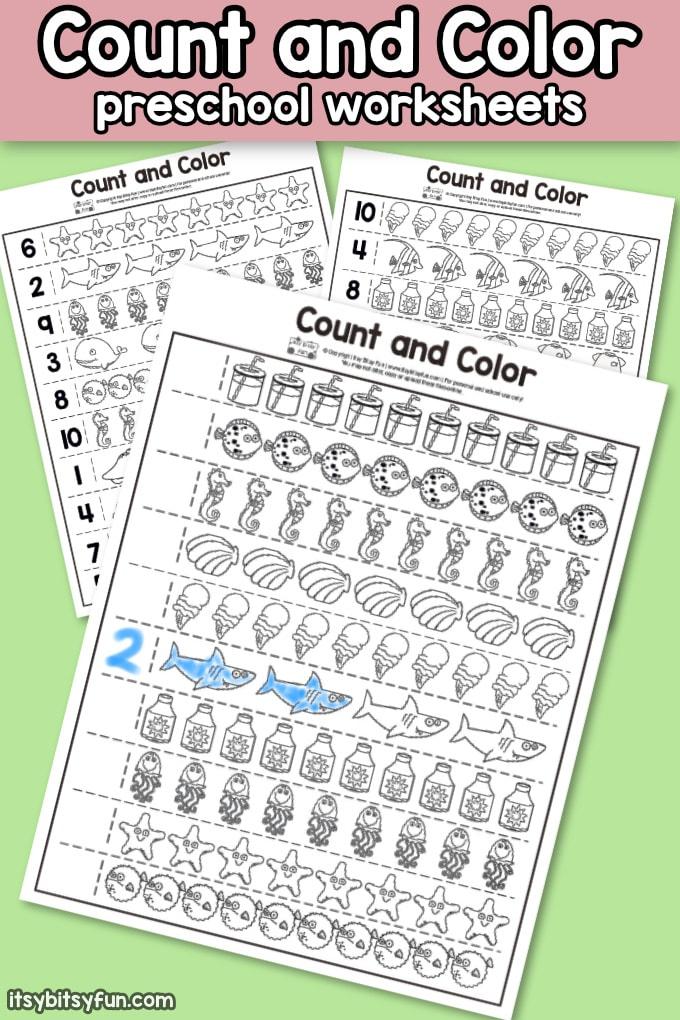 Summer Count And Color Preschool Worksheets