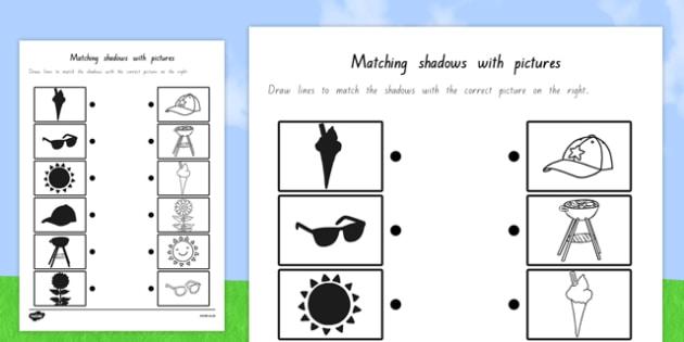 Summer Shadow Matching Worksheet Teacher Made