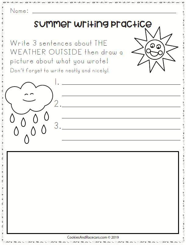 Summer Writing Practice Worksheets For Kindergarten Cookies