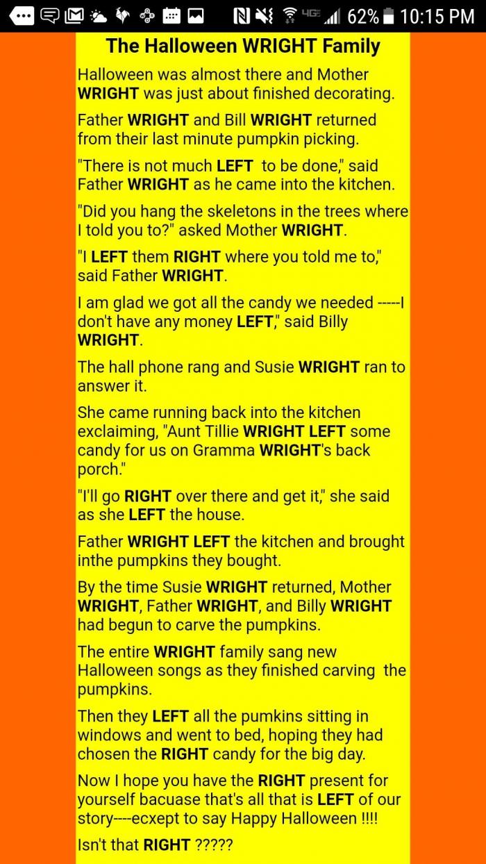 The Halloween Wright Family Story