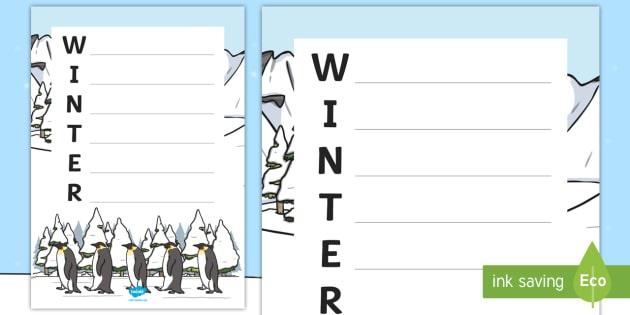 Winter Acrostic Poem Template Teacher Made