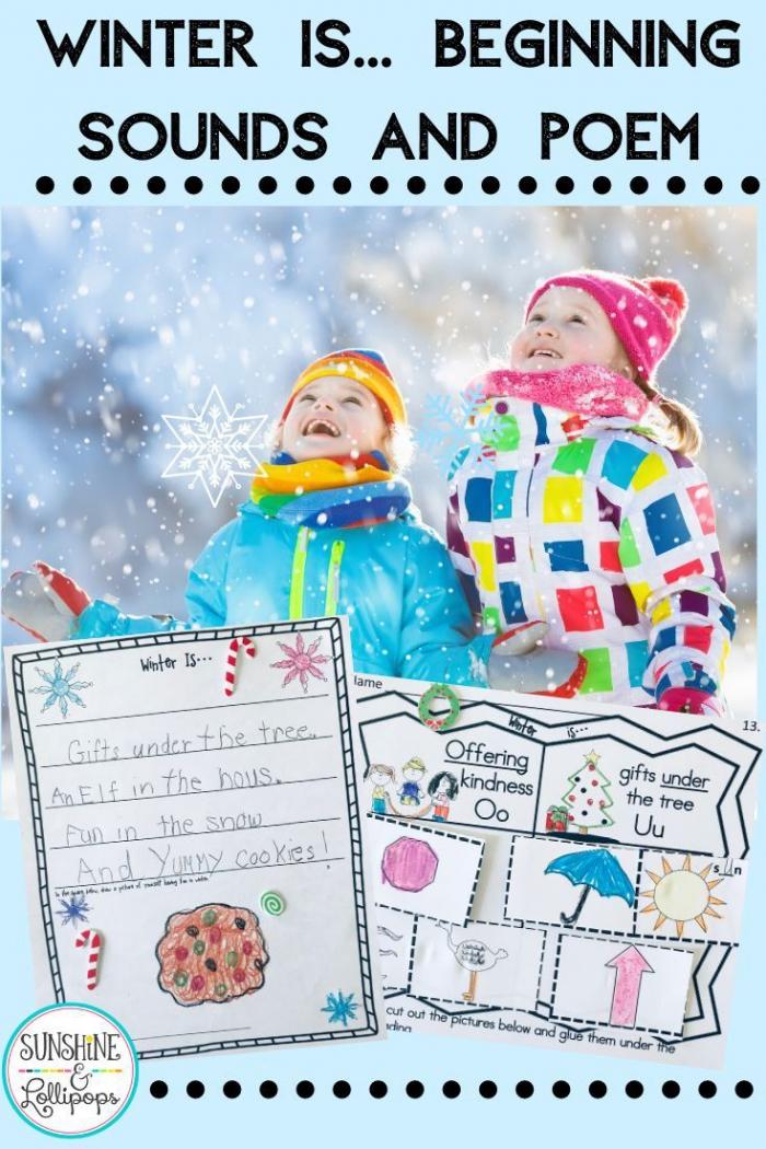 Winter Activities Beginning Sound Worksheets And Poem Activity