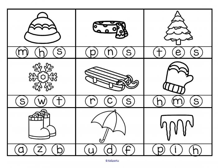 Winter Beginning Sounds Stamp Or Color The Letter