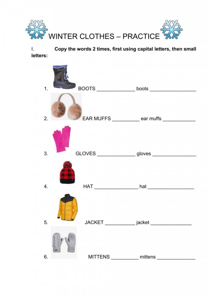Winter Clothes Spelling Practice Worksheet