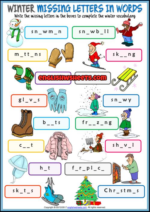 Winter Esl Missing Letters In Words Exercise Worksheet