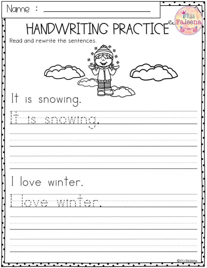Winter Handwriting Practice This Product Has Pages Of