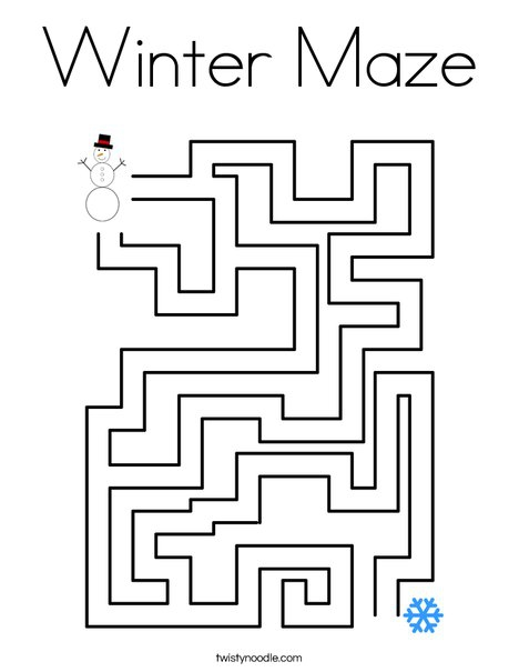Winter Maze Coloring Page