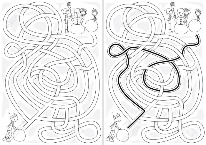 Winter Maze For Kids With A Solution In Black And White Royalty