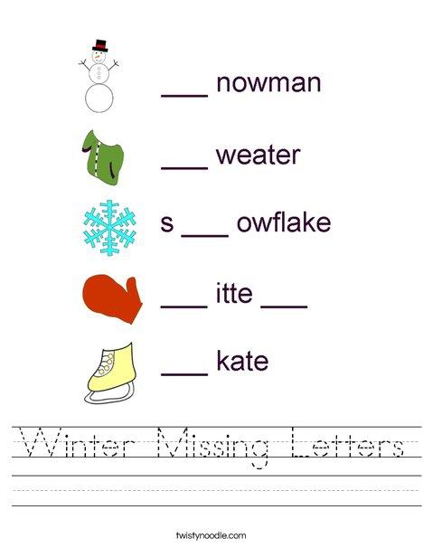 Winter Missing Letters Worksheet
