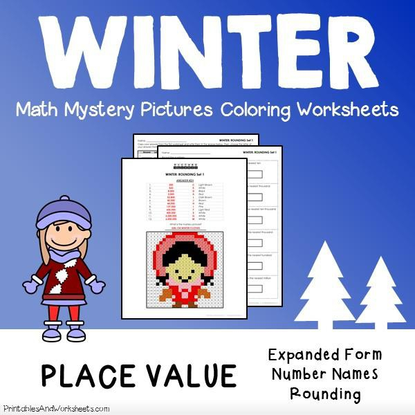 Winter Place Value Mystery Pictures Coloring Worksheets