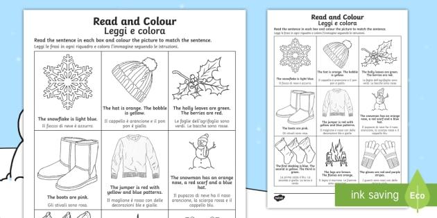 Winter Read And Color Worksheet Worksheet Englishitalian