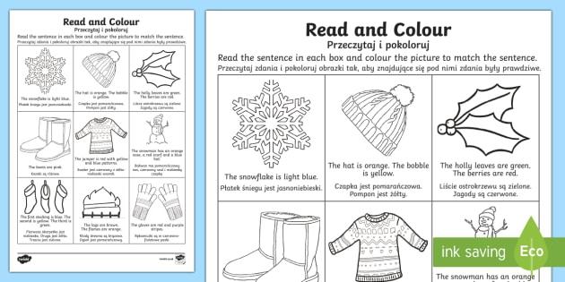 Winter Read And Color Worksheet Worksheet Englishpolish