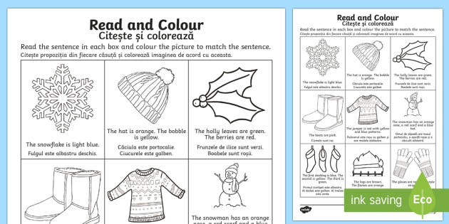 Winter Read And Color Worksheet Worksheet Romanianenglish