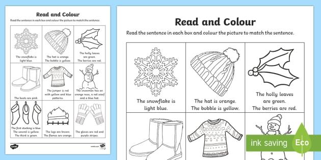 Winter Read And Color Worksheet Worksheet Teacher Made