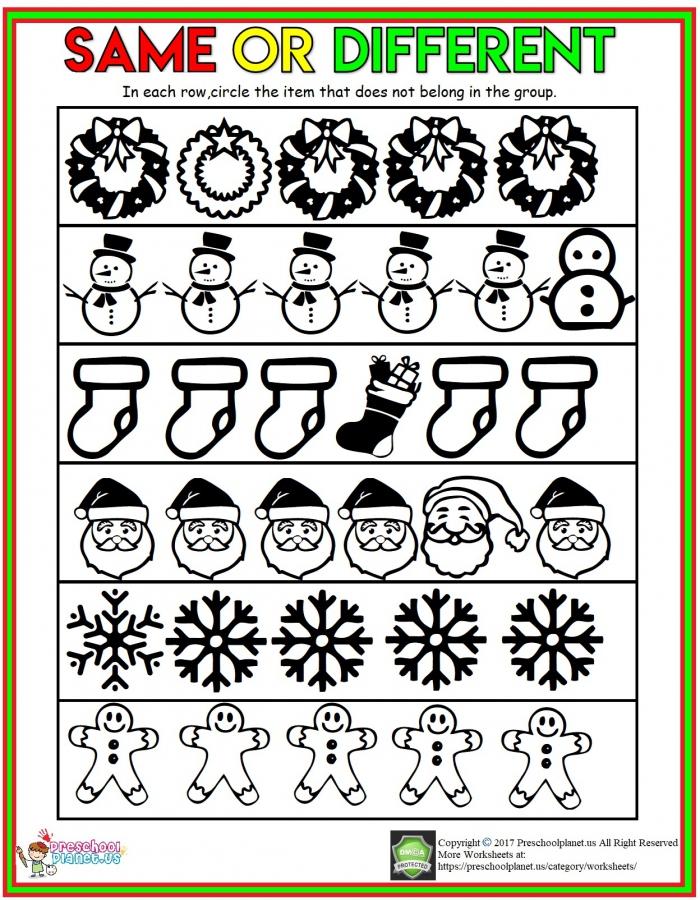 Winter Same And Different Worksheet Preschoolplanet