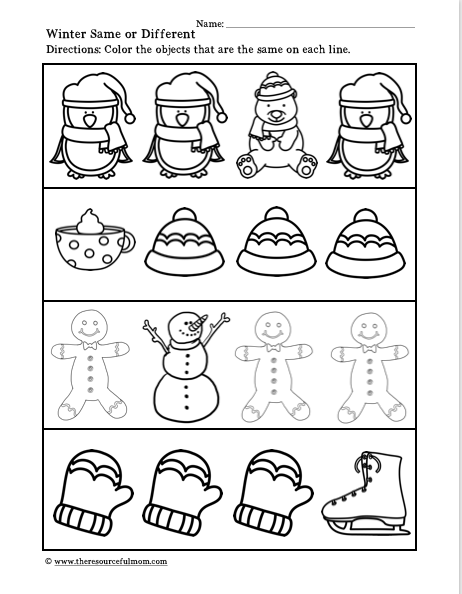 Winter Same Or Different Printable