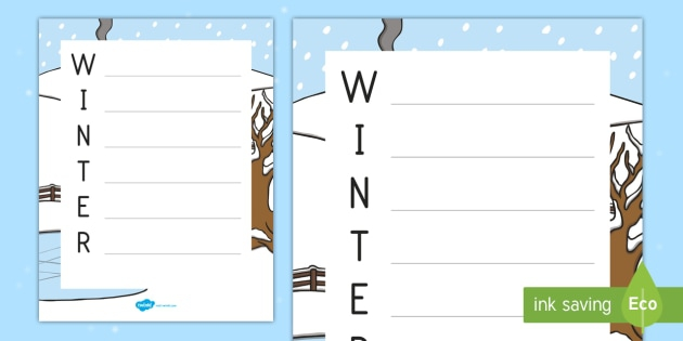 Winter Template Acrostic Poem