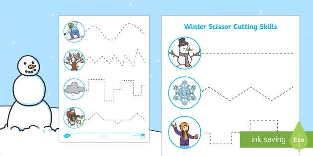 Winter Themed Cutting Skills Worksheet Worksheets