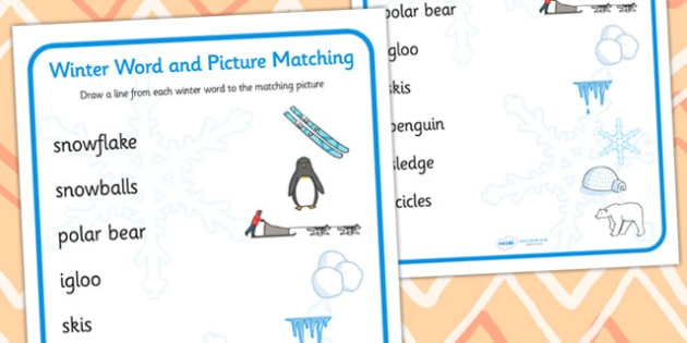Winter Word And Picture Matching Activity Teacher Made