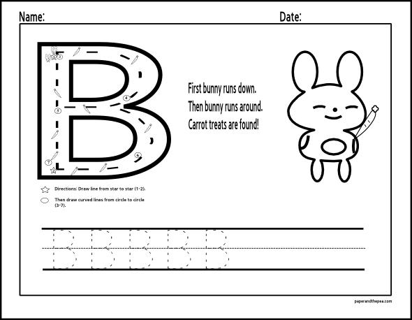Easter Bunny Letter B Worksheets