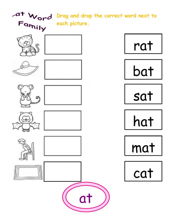 At Word Family Interactive Worksheet