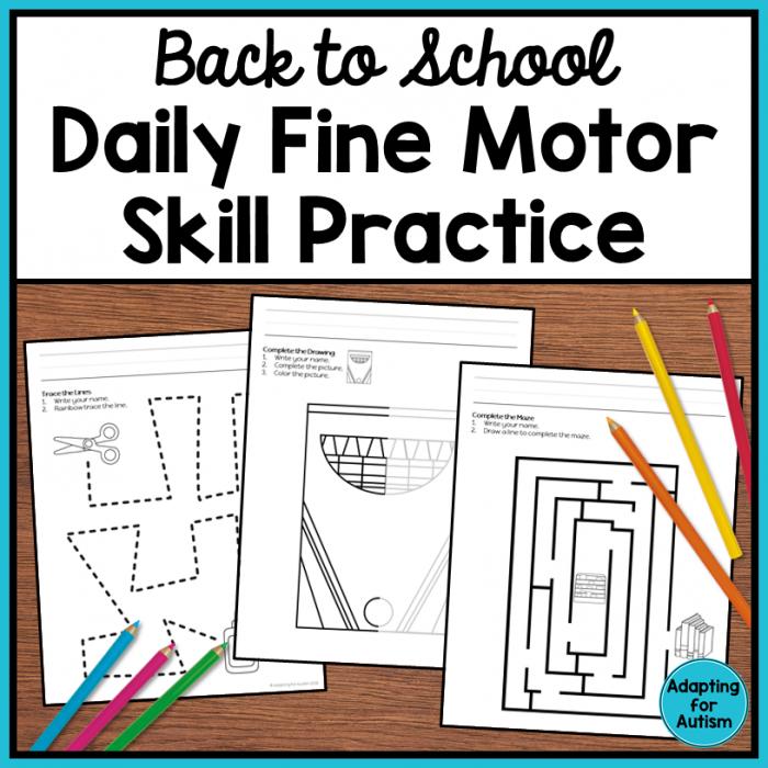 Back To School Fine Motor Worksheets Autism Work Tasks